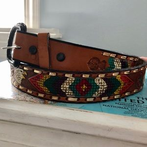Hand Tooled Leather Belt from Mexico